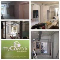 Vue des différents espaces de myCowork : open-space, bureaux privés, salle de réunion, café wifi