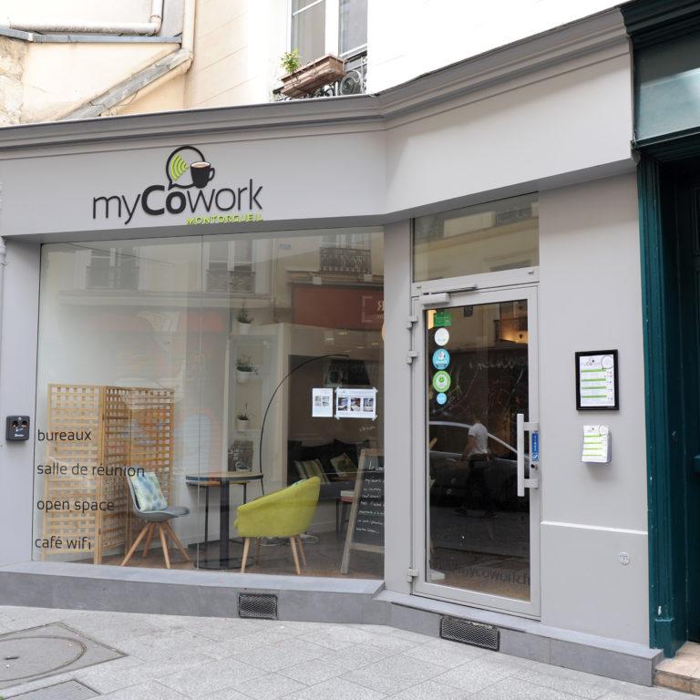 Vitrine myCowork Montorgueil Paris2 - espace de coworking Réaumur / Sentier
